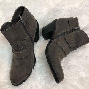 Crown Vintage Shoes - Crown Vintage Faux Suede Buckle Booties 6 Gray